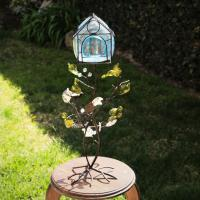 "BIRD CAGE"" TEALIGHT CANDLE HOLDER-->METAL AND GLASS Photo"