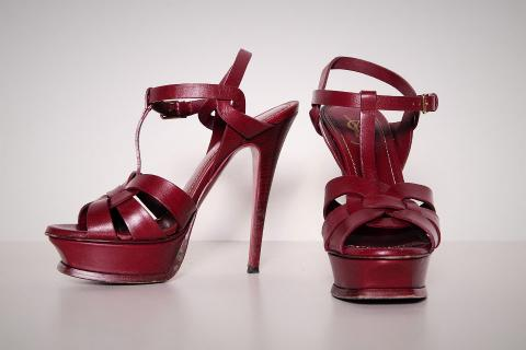 YSL Red Sandal Heels Photo