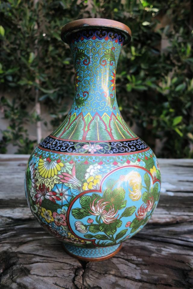 Colorful Cloisonne Vase Large Photo
