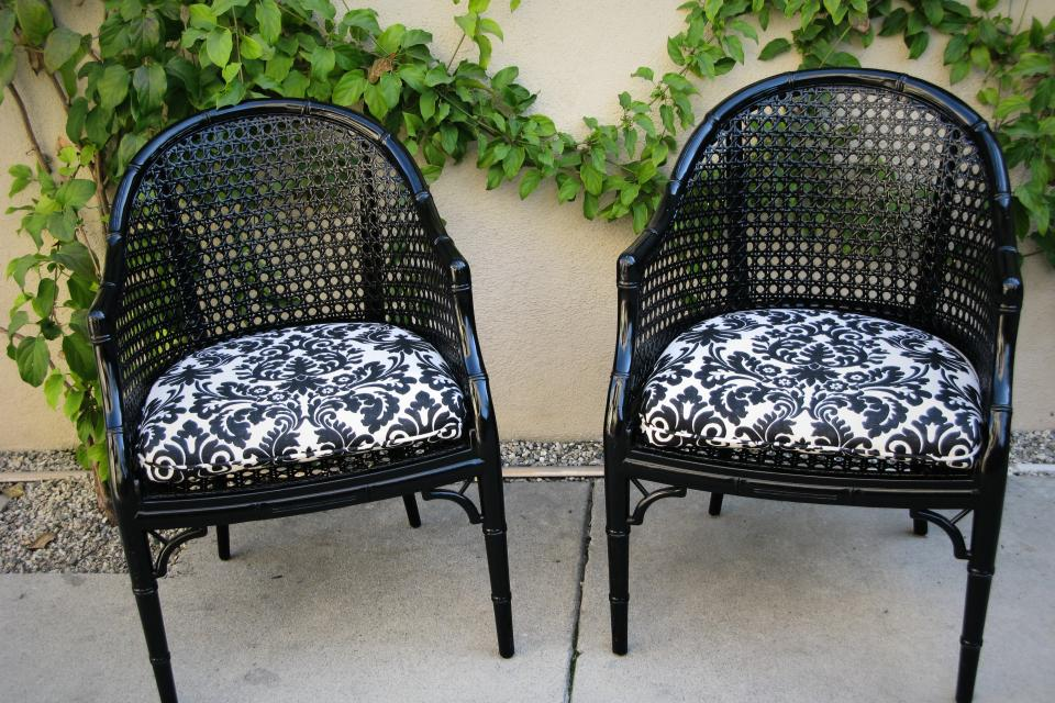 Pair of Black Chairs w/ Black and White Floral Cushions Large Photo