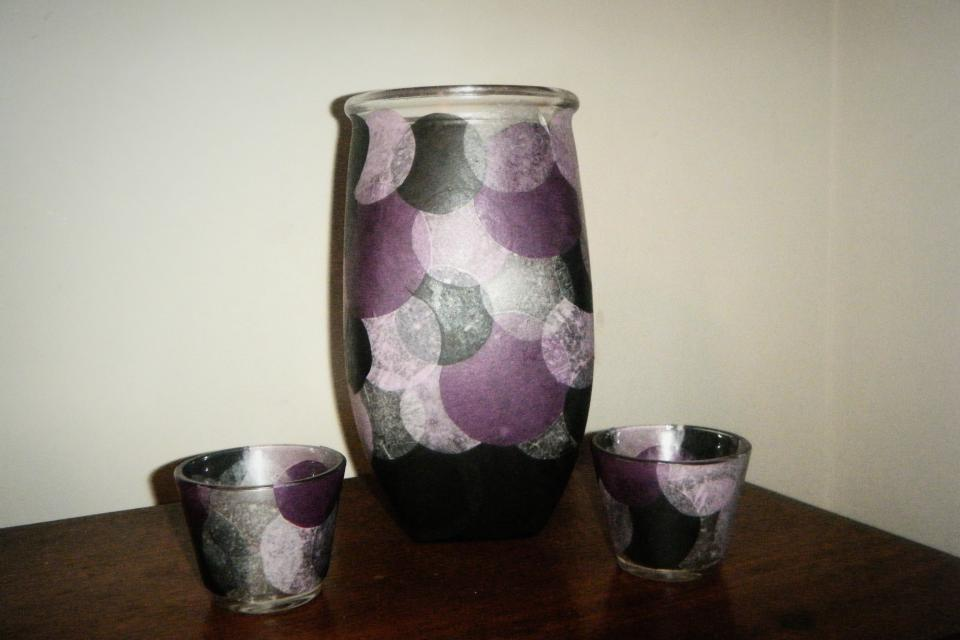 Vase w/ Holders (pur/blk/sil) Large Photo