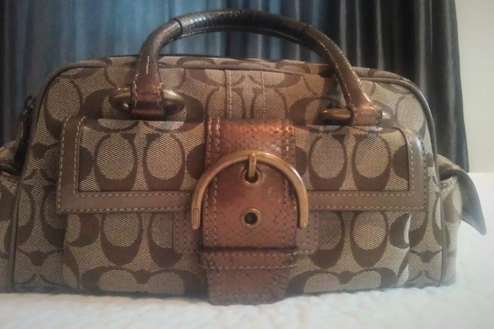 Coach Signature Metallic Bronze Snakeskin bag  Large Photo