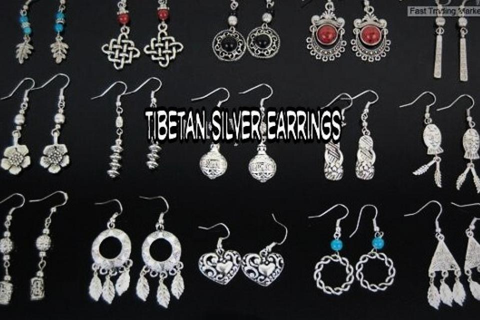 Tibetan Silver Earrings Large Photo