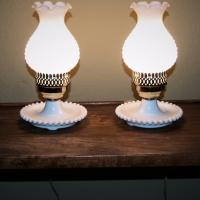 Pr. Vtg. Hobnail Milk Glass Hurricane Bedside Lamps Lights / Nice Set Photo