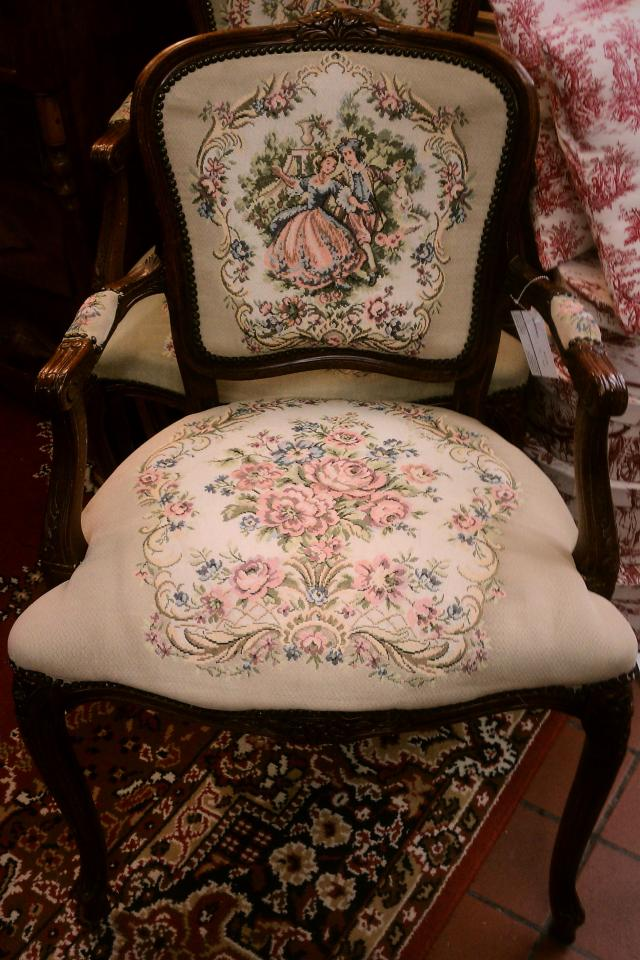 French Vintage Needle Point Chair Photo