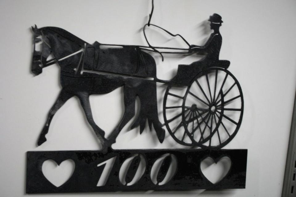Cart Horse Mailbox Sign Large Photo