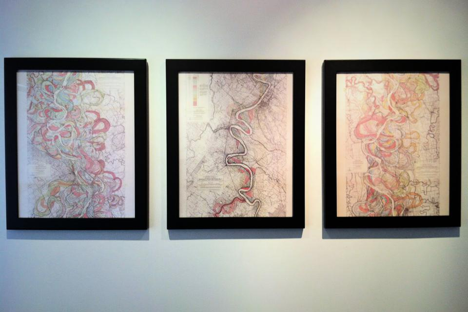 Framed Maps of Historic Mississippi River Pathways - Set of 3 Large Photo