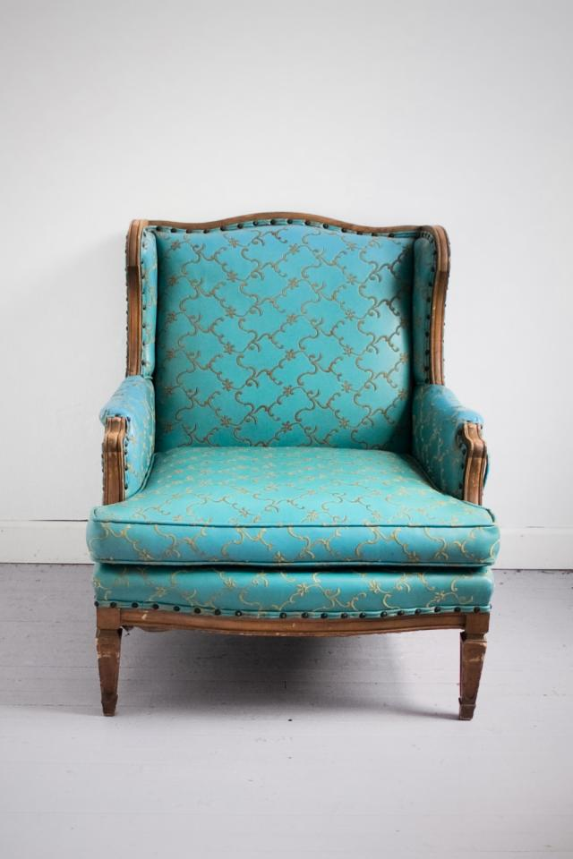 Vintage Teal Ornate Embroidered Wingback ARMCHAIR  Photo