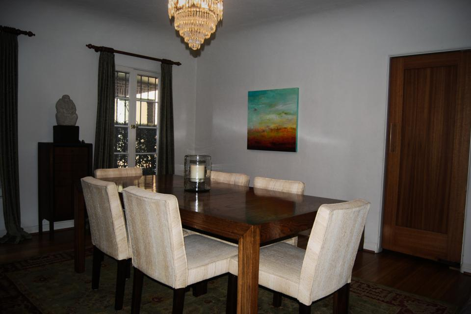 Dining Room Set (Beautiful Parson's Table with six upholstered chairs) Large Photo