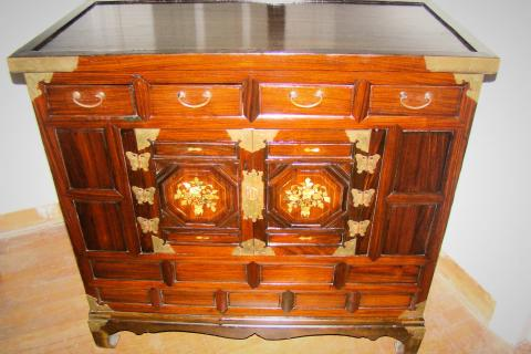 Rosewood Tansu Cabinet w/Mother of Pearl for media, music stereo & bar Photo