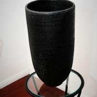 Beautiful Black Textured Vase Handmade in Japan   Photo
