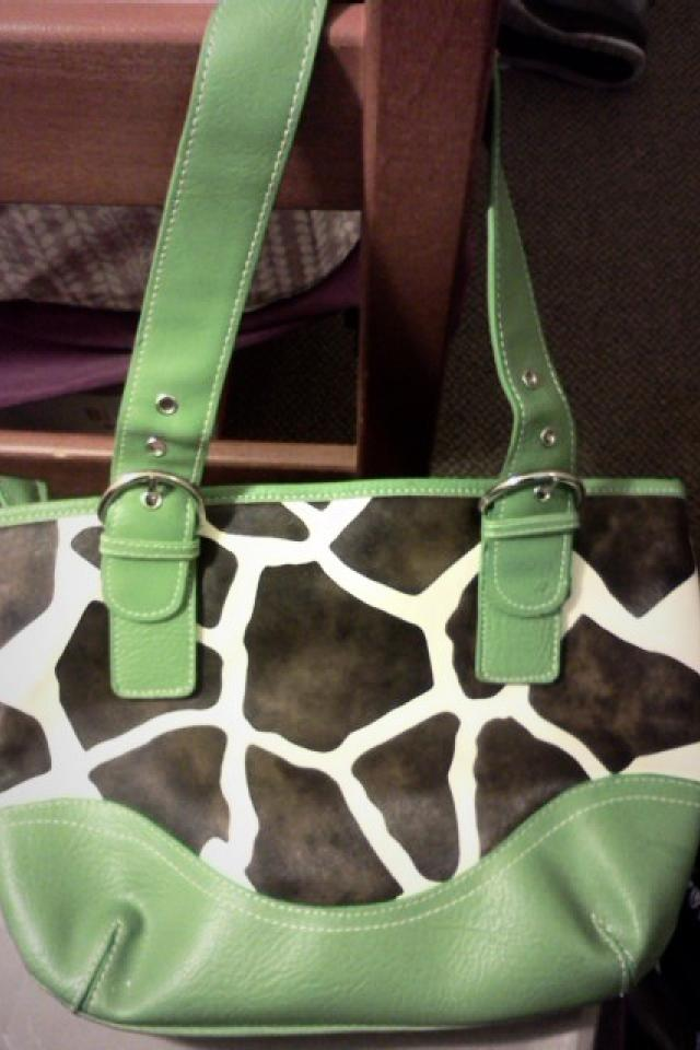 Green-accented, animal print handbag Photo