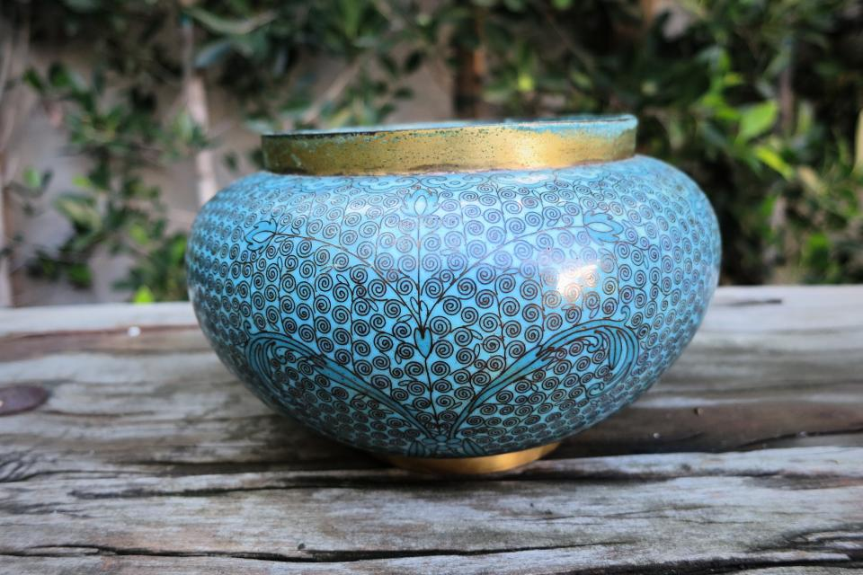 Turquoise Cloisonne  Vase/Planter/Pot Large Photo