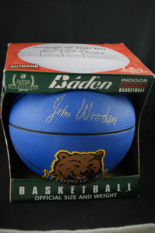 John Wooden UCLA Autographed Basketball Large Photo