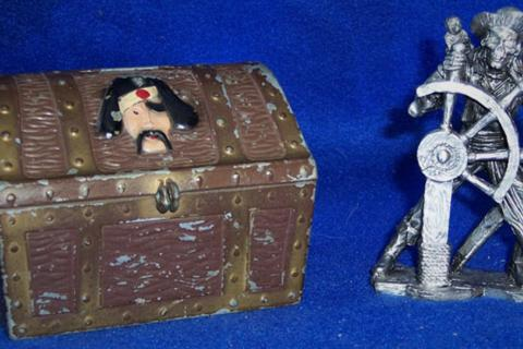 Pewter skeleton pirate and metal pirate chest bank Photo