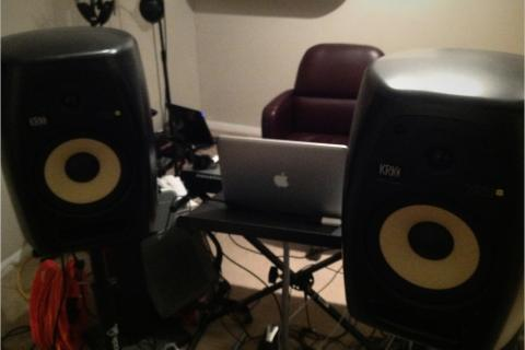 Pair of KRK VXT8 studio monitor speakers Photo