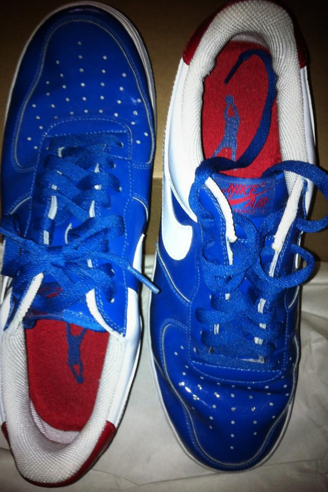 Dark Blue & White & Red Leather Sneakers - $95 Photo