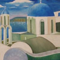 Acrylic painting of greek architecture in greece. Photo