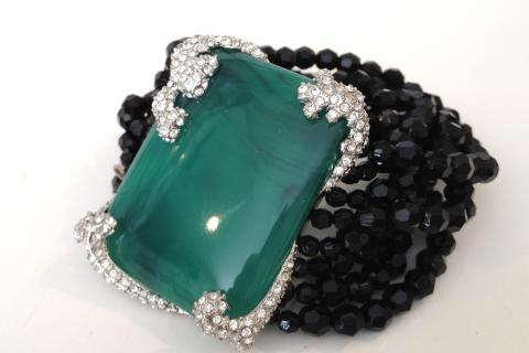 JADE,  CRYSTAL AND JET STATEMENT BRACELET Photo
