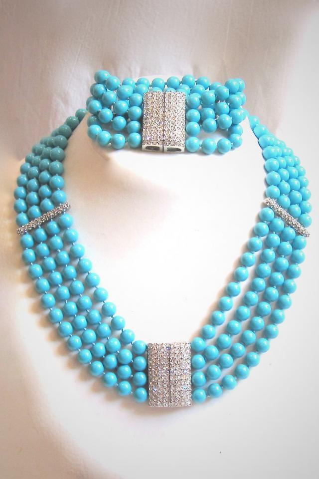 Fabulous Turquoise and Crystal Necklace and Bracelet Set Photo