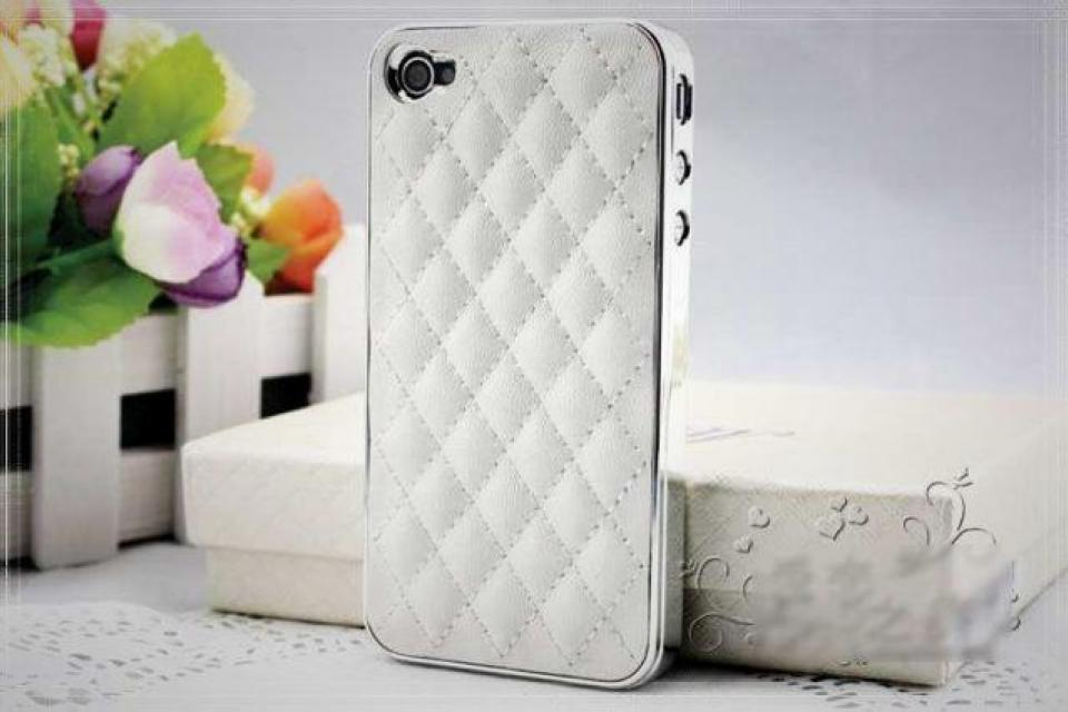 Soft Leather Hard Cover Case for iPhone 4 4G 4S White-Silver  Large Photo