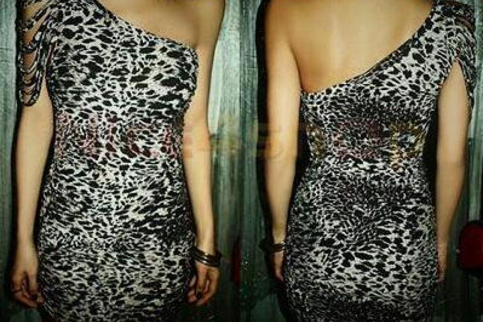 One shoulder Leopard Mini Dress Photo