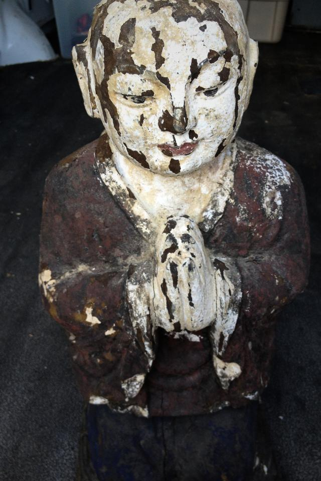 Antique Wooden Kneeling Chinese Buddha Photo