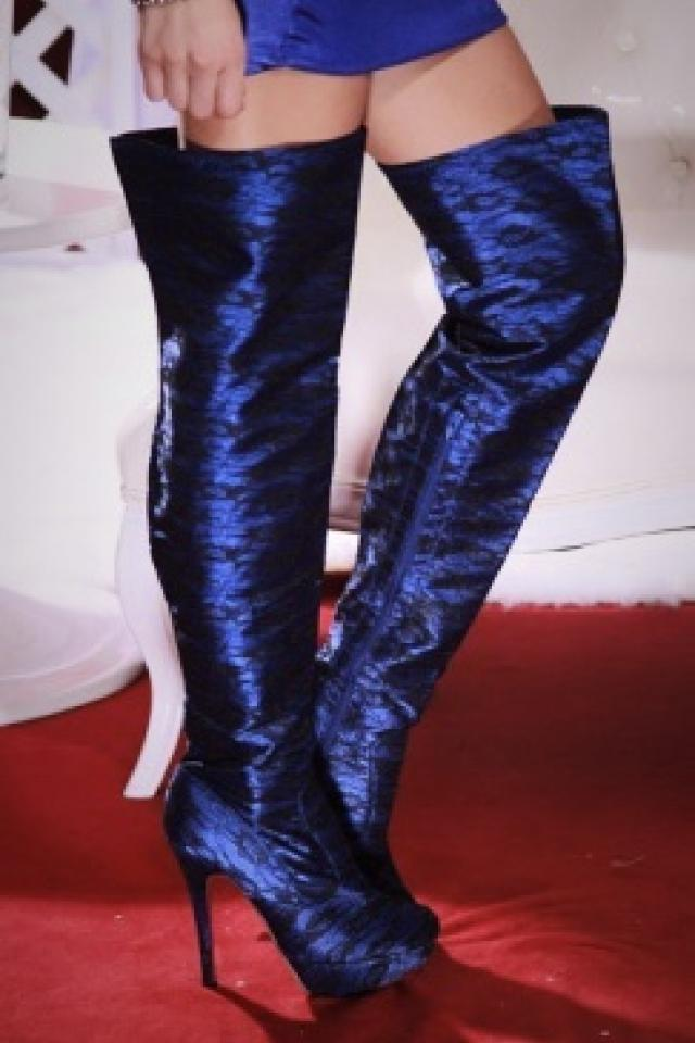 Blue lace covered Thigh High Boots SIZE 8 Large Photo