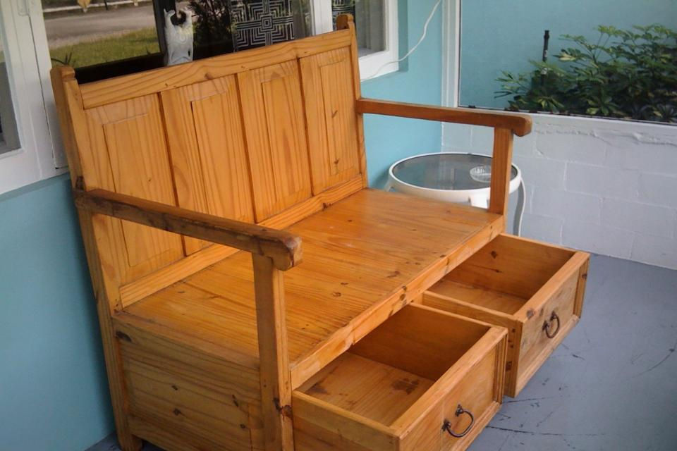 Large Pine bench with Draws Large Photo