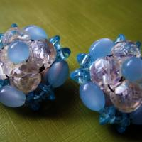Vintage Blue and White Crystal Cluster Clip Ons Photo