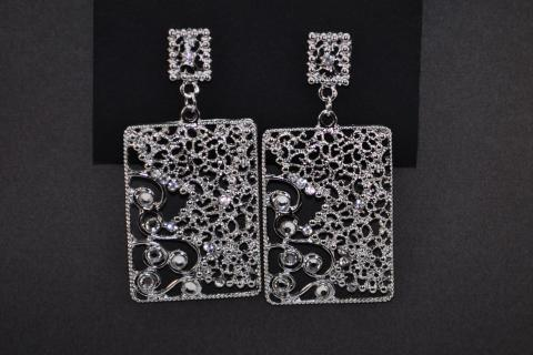 Square Silver Earrings Photo
