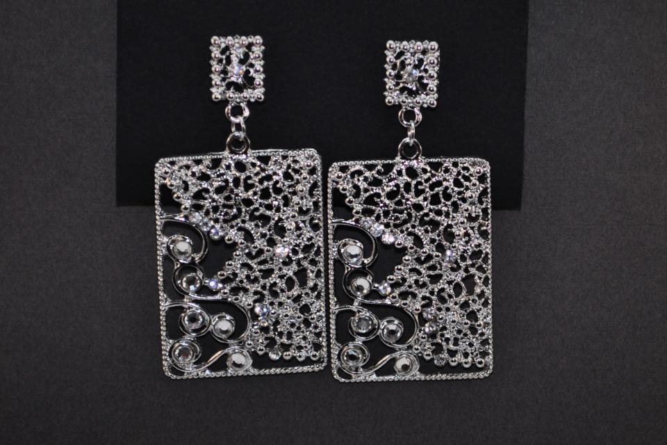 Square Silver Earrings Large Photo