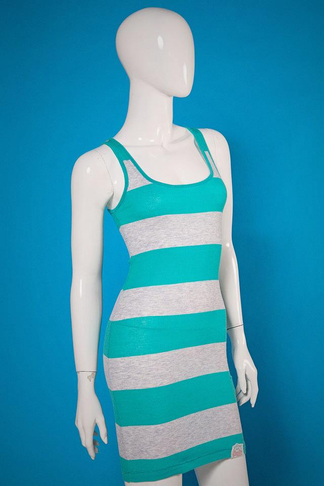 Superdry Striped Tank Dress Green/Grey Photo